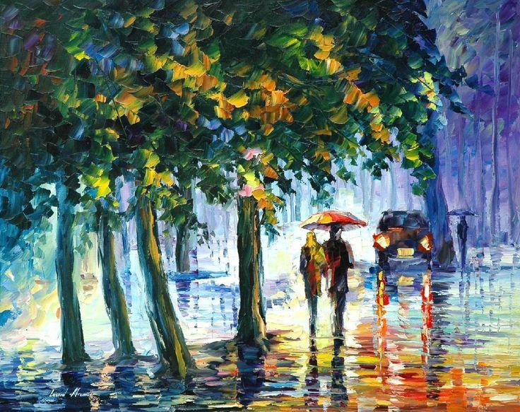 RAINY STROLL - PALETTE KNIFE Oil Painting On Canvas By Leonid Afremov http://afremov.com/RAINY-STROLL-PALETTE-KNIFE-Oil-Painting-On-Canvas-By-Leonid-Afremov-Size-30-X24.html?bid=1&partner=20921&utm_medium=/vpin&utm_campaign=v-ADD-YOUR&utm_source=s-vpin