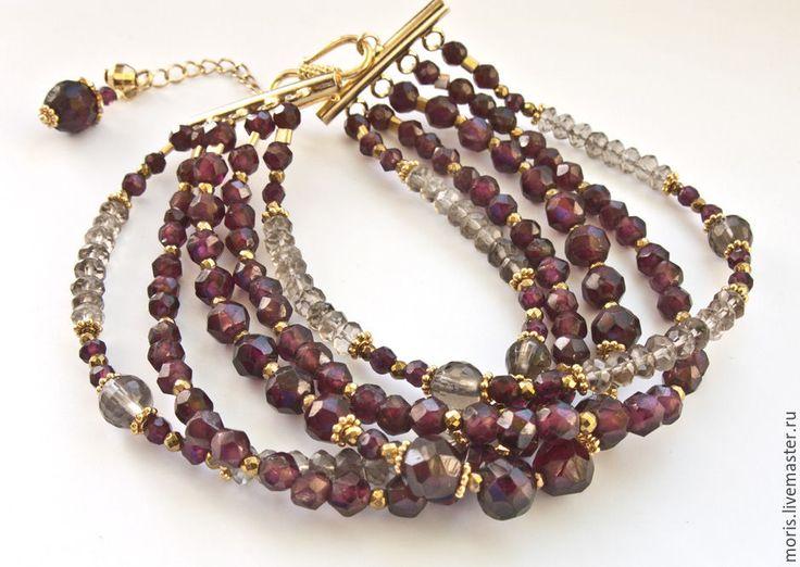 """Купить Гранатовый браслет из серебра """"Гален"""" раухтопазы позолота... - браслет с раухтопазом, многорядный браслет"""