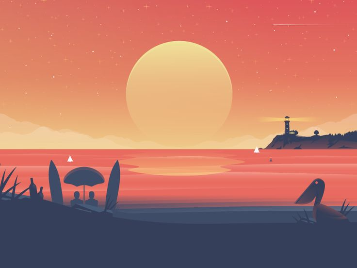 Landscape Illustration Vector Free: Sunset By Nick SlaterTwitter