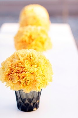 yellow carnations - mine only have 4 big blooms & are in super cute grey mason jars