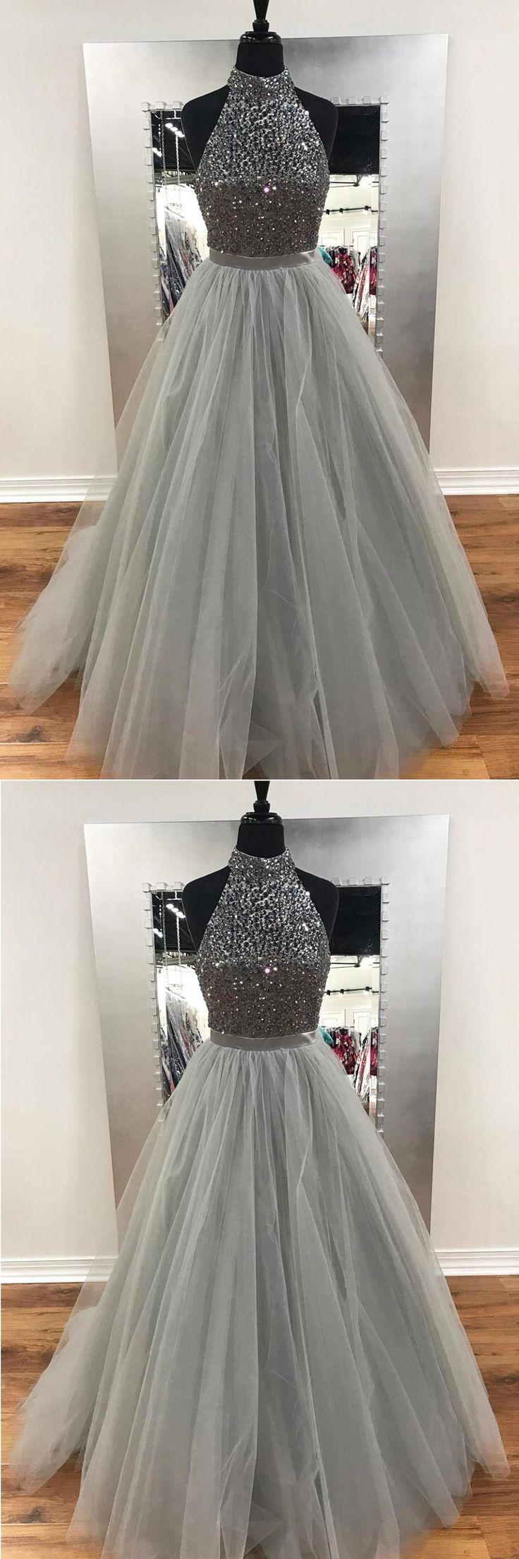 2018 gray tulle long sliver sequins prom dresses, long evening dress #longpromdresses