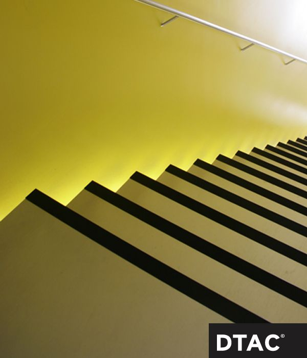 Clearly defined edge of steps with side lighting