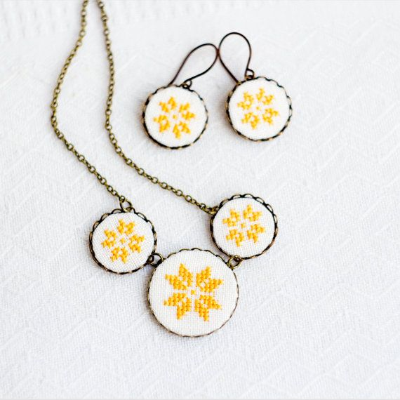 Cross stitch jewelry set - necklace and earrings with golden yellow ethnic ornament in bronze