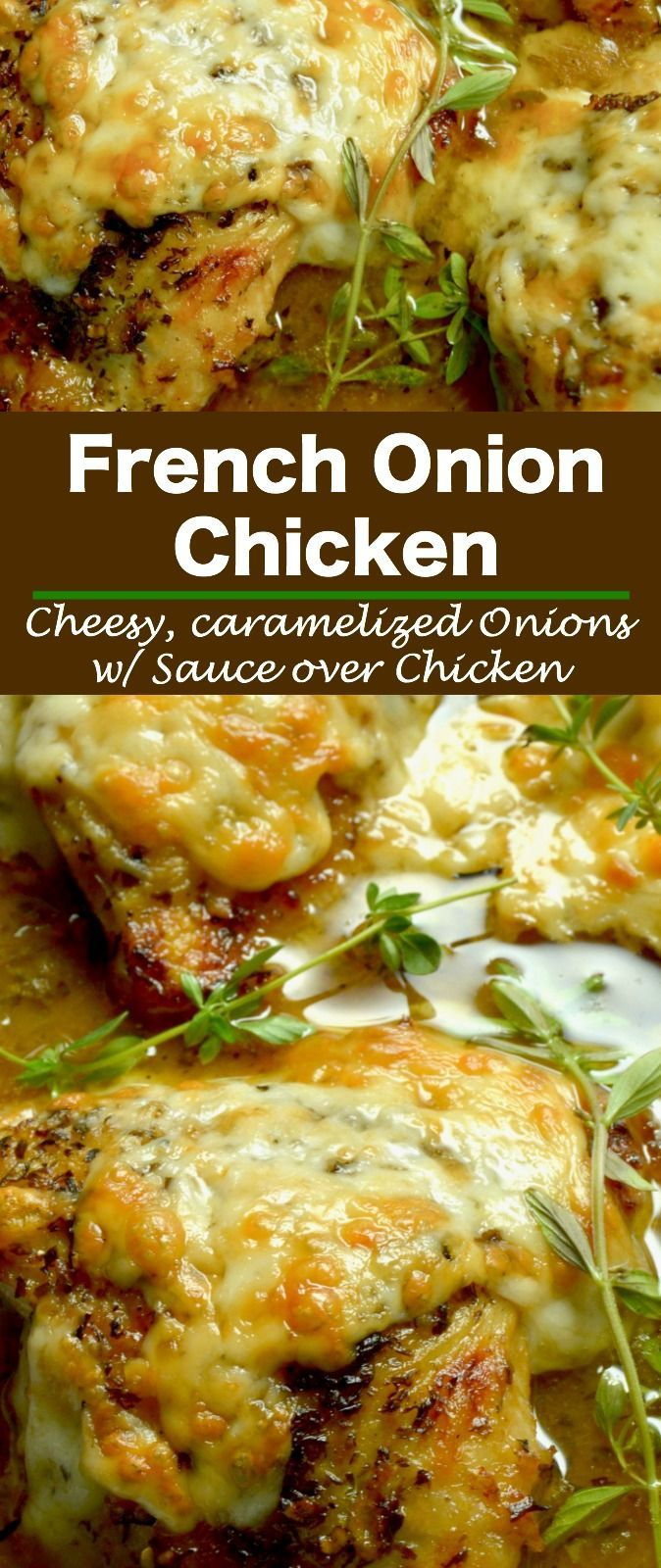 French Onion Chicken: caramelized onions under melted gooey cheese all atop braised tender chicken with a French onion style sauce.  An excellent option for dinner with friends, but your family will want it for a weeknight dinner option! #chicken #weeknightdinner #comfortfood #casualfood #casualrecipe