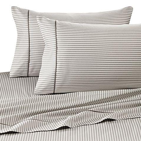 wamsutta 400 thread count stripe printed california king sheet set in grey
