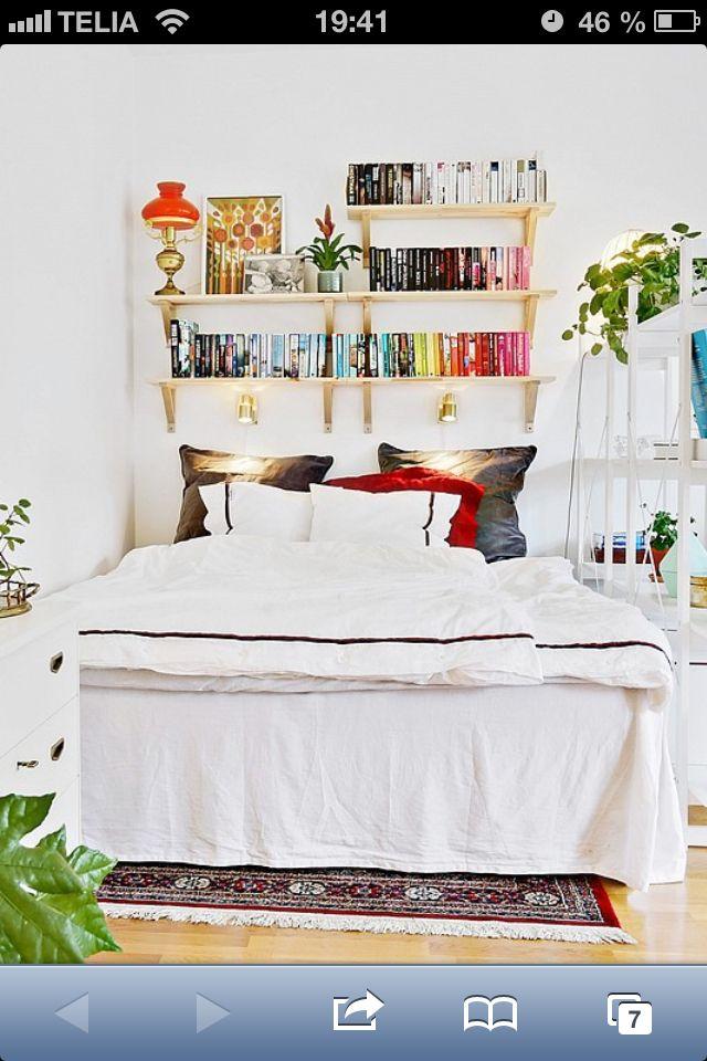 Sovrum med bokvägg, Bjurfors Göteborg.