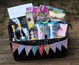 Honeymoon Gift Basket - Genius Bridal shower gift! Where was this pin last month?
