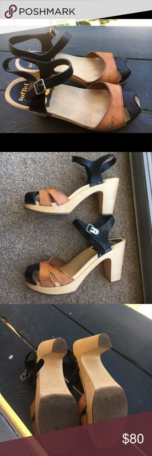 """Swedish Hasbeens Suzanne Black and Tan high heel 3 1/2"""" heel. Fits 7.5-8. Twice-worn pair of Swedish Hasbeens. Slight watermarks on tan of each shoe. Swedish Hasbeens Shoes Sandals"""