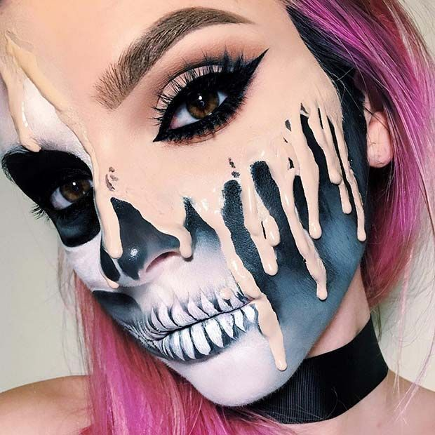 Melting esqueleto maquillaje para Mind-Blowing Halloween maquillaje se ve