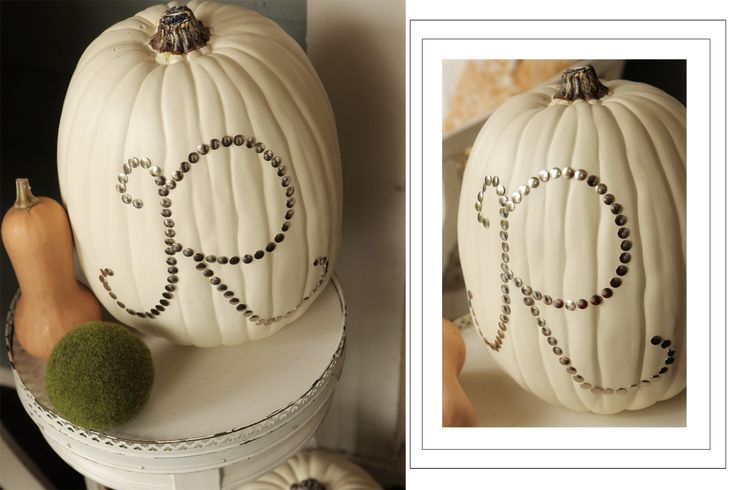 Why didn't I think of monogramming a pumpkin (or fun-kin) like this? I wish I could find these off-season!