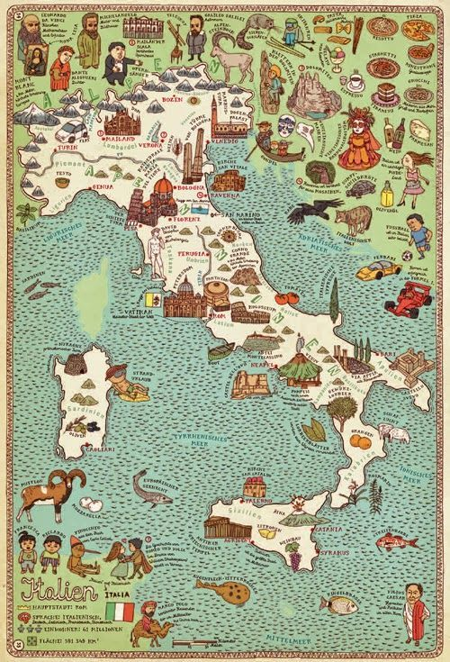 Mapa ilustrado de Italia