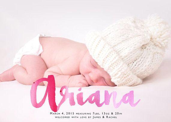 Chica anuncio anuncio nacimiento acuarela escritura por LNZart