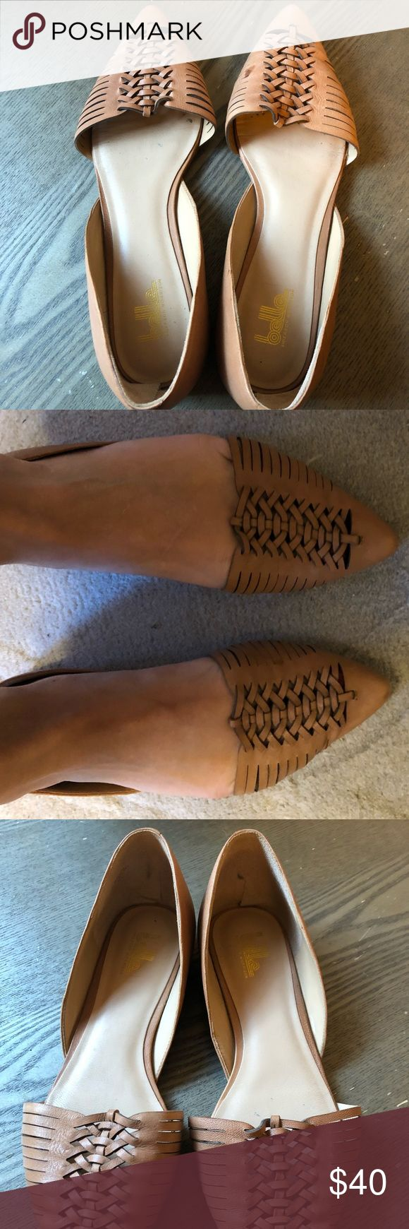 Tan leather flats Belle by Sigerson Morrison Barely worn cute leather flats with woven details on toe. They are very comfortable and look great with dresses or with jeans. Belle by Sigerson Morrison Shoes Flats & Loafers