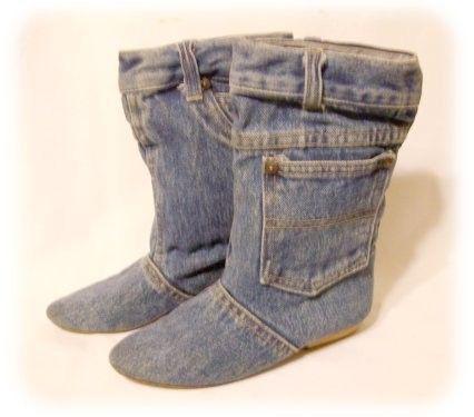 Imperial BLUE JEANS DENIM BOOTS Sz 5 1/2 Ladies ITALY. $14,95, via Etsy.