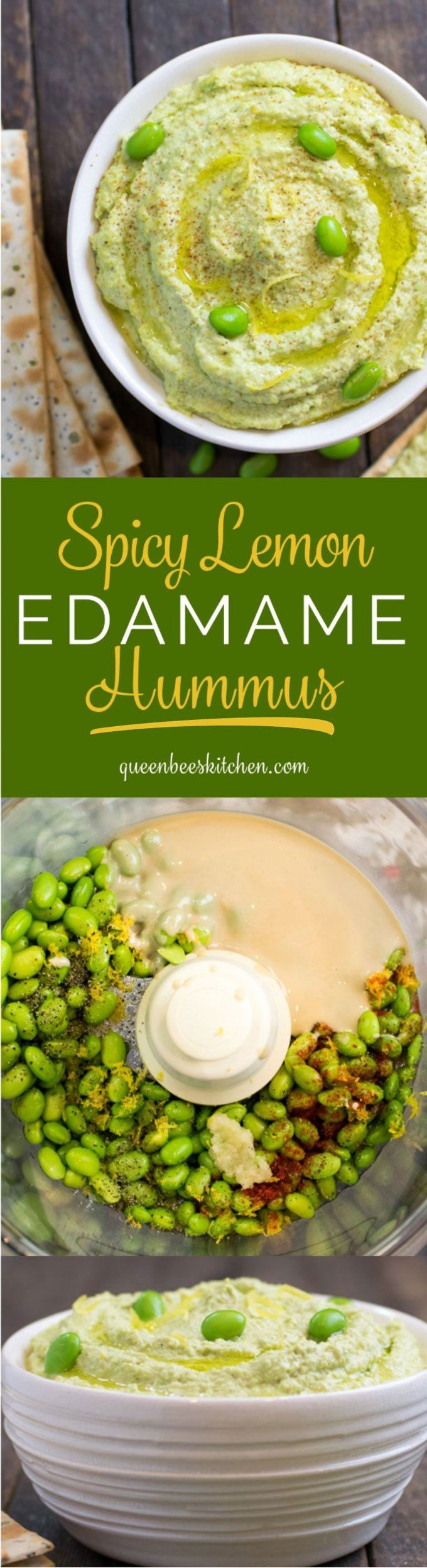 Spicy Lemon Edamame Hummus - so yummy and nutritious! And it's green #stpatricksday :)