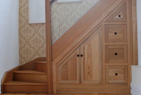 Under Stair Storage for Your Minimalist House : Minimalist Look Wooden Drawers Under Stair Storage