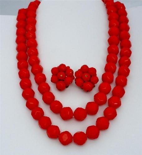 Western Germany Dark Red Multi 2 Strand Bead Demi Set Necklace Earrings Vintage | eBay