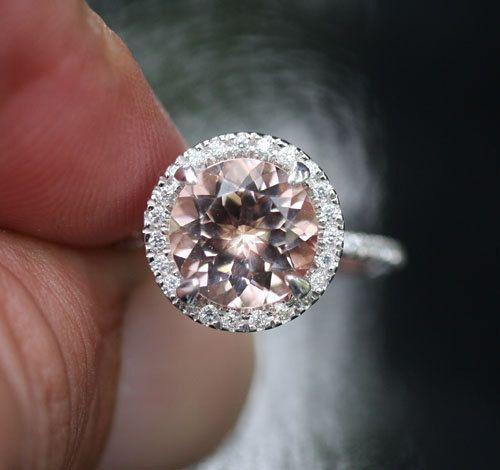 Single Halo 14k White Gold 9mm Morganite Round and Diamonds Wedding or Engagement Ring (Choose color and size options at checkout)