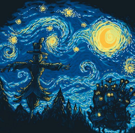 Sweeeet. Howls Moving Castle meets van Gogh.