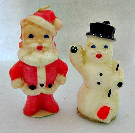 Vintage Christmas Candles ~ Gurley Santa and Waving Snowman