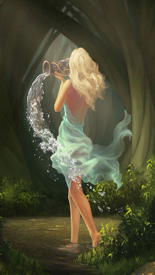 breezy Aquarius; spreading knowledge by water (water bearer)