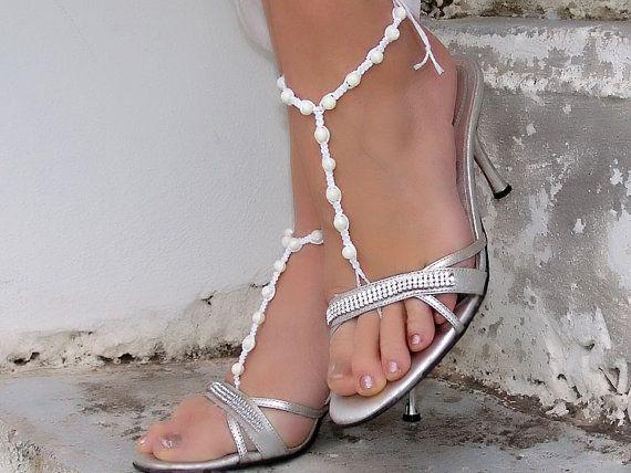Barfuss Sandalen Hochzeit Bridal White barfuß Sandles von Lasunka