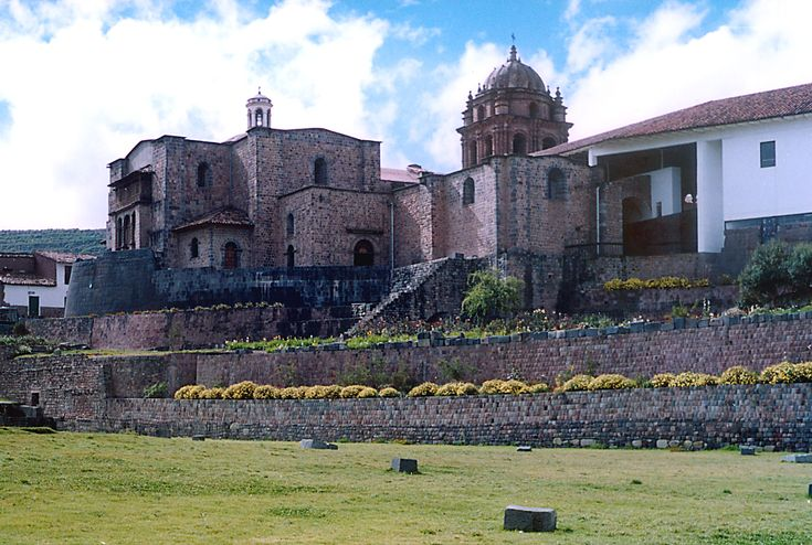 The Coricancha, located in Peru, is an ancient temple known to the Incan civilization. Its walls and floors were originally covered with gold, but it was later taken over by the conquistadors, and built into a Christian  church.