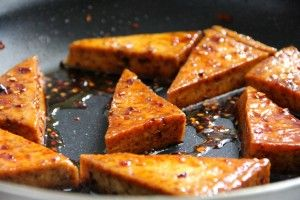 Honey Glazed Tofu: extra firm tofu, coconut oil, soy sauce, rice vinegar, crushed red pepper flakes