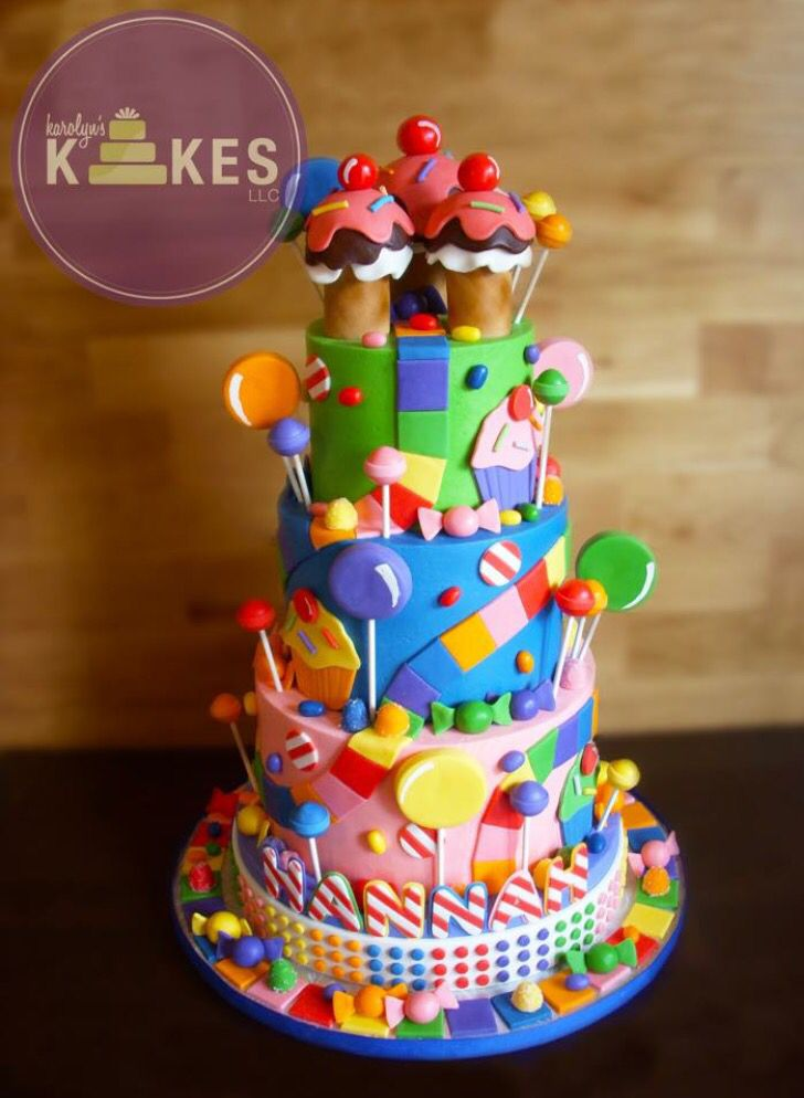 Candyland KAKE! Cake is all iced in buttercream.  Lollipops, trail, candy, jelly beans are Marshmallow Fondant.  Ice cream cones are rice cereal.