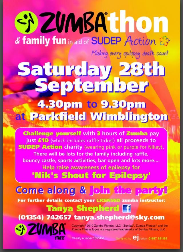 Zumbathon & Family Fun Saturday 28th September proceeds to Sudep Action :)