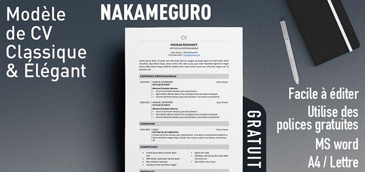 Nakameguro - Modèle de CV classique et élégant