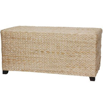 oriental furniture rush grass rectangular coffee table natural click image twice for more info - Rattan Coffee Table