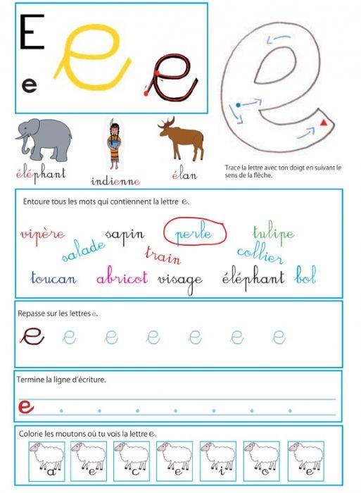 coloriage Imprimer la page d'activité du e pour le livre GS / CP sur les minuscules