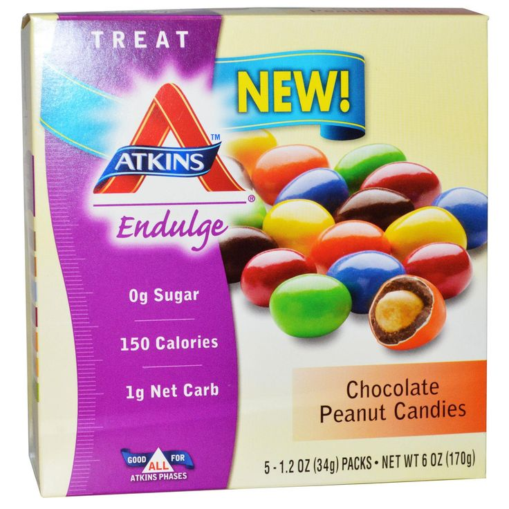 Atkins, Treat Endulge, Chocolate Peanut Candies, 5 Packs, 1.2 oz (34 g) Each - iHerb.com