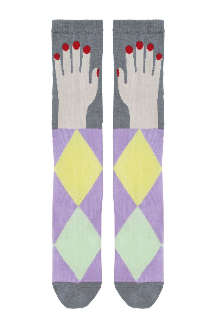 Knee high socks with pastel colors, and a hand graphic on the knee area from RaspberryPlum SS17 collection. Wear these socks with any outfit for a unique twist.   Hand Socks by Raspberry Plum. Girls - Socks & Underwear New York City