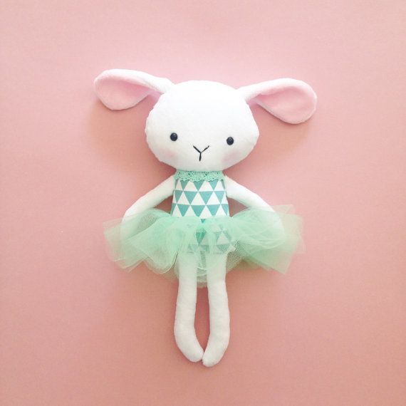 Plush bunny toy – Bunny rag doll – Handmade rabbit doll – Stuffed toy – Fabric bunny Doll – Stuffed dollMint Corner