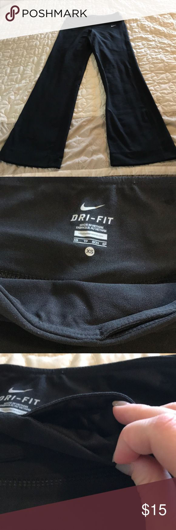 Nike Dri Fit Yoga pants XS EUC Nike Yoga Pants— worn once but just too small for me. There's a small pocket at the top for keys, etc (shown in pictures) Nike Pants Track Pants & Joggers