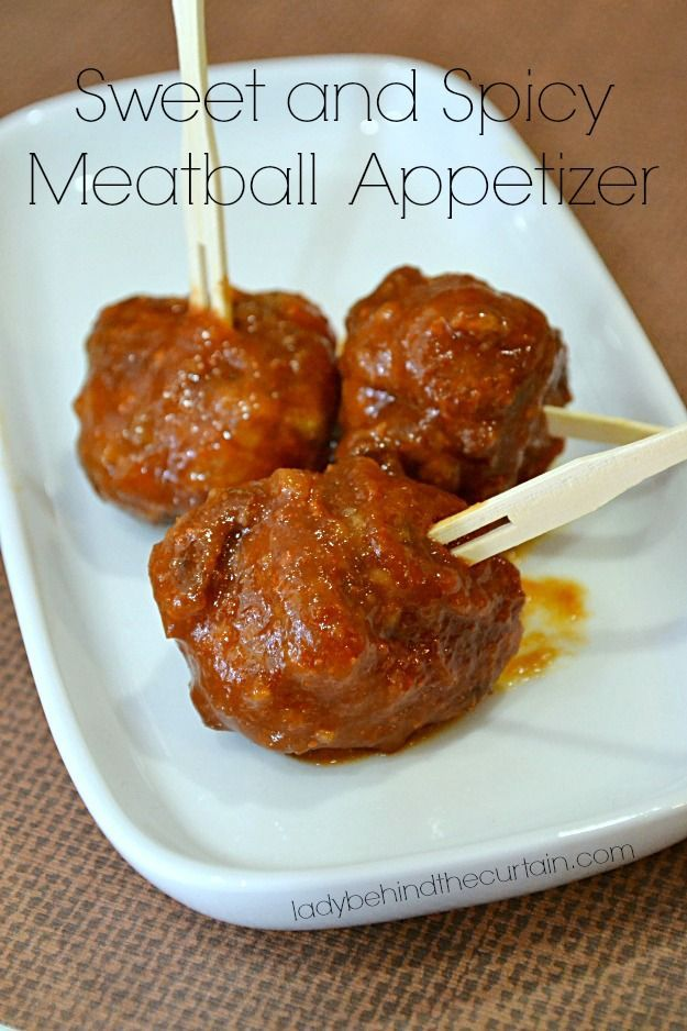 Saucy, Sweet and Spicy.  This meatball appetizer is easy to make, will keep warm for hours in the slow cooker and is even better the next day.