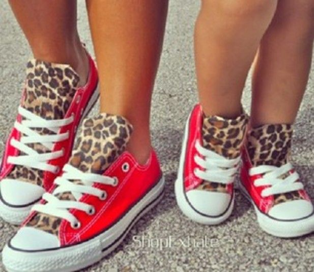 These matching cheetah print Converse are so cute!  They are a great fun summer shoe, and even better if you have a daughter to match them with.  I found this