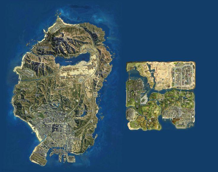 GTA V vs GTA San Andreas map sizes