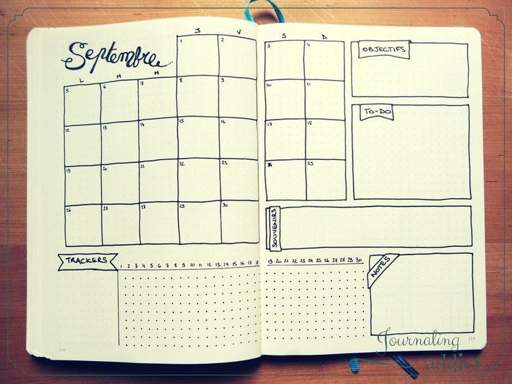 bullet journal des modèles page mensuelle pages mensuelles monthly layout spread