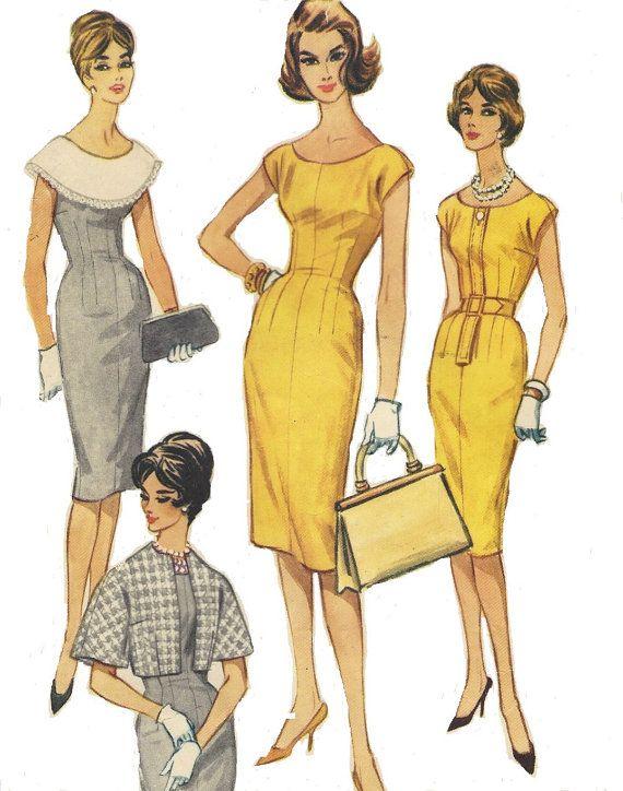jaren 1960 Womens accessoires jurk Wiggle jurk, kraag & jas McCalls naaien patroon 5404 grootte 20 buste 40 Onbesneden Vintage naaien patroon