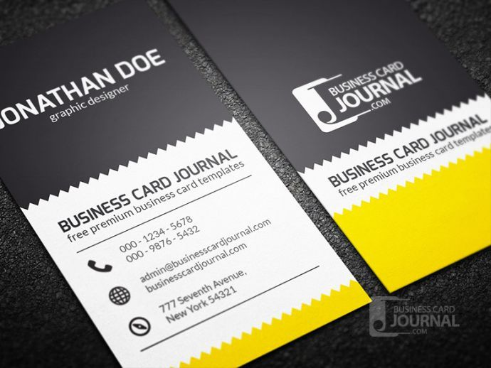 zigzag Free Business Cards Mockup PSD