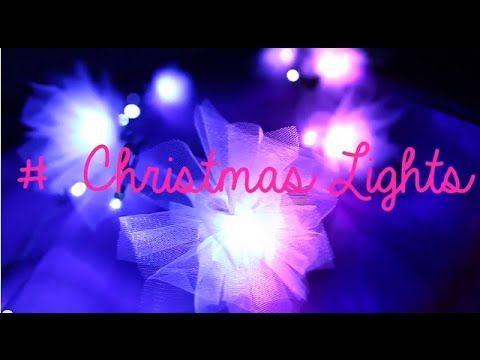 DIY Tulle Christmas Lights! Love Love Love! #diy #christmaslights #christmas #decoration #lights