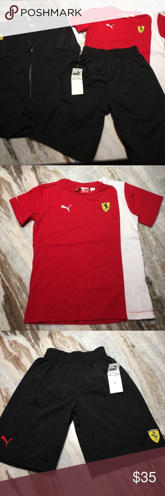 Scuderia Ferrari Puma boys clothes size 5 & 6 I have for sale a 3 piece set of boys clothing size 5 & 6. Included are : 1 Puma Scuderia Ferrari short sleeve shirt size 6. Shirt was only used once. 1- Black shorts size 5. Shorts are new with tags. 1- houma Scuderia Ferrari black sweater. Sweater was also just use once. it is a size 6 puma Scuderia Ferrari Other