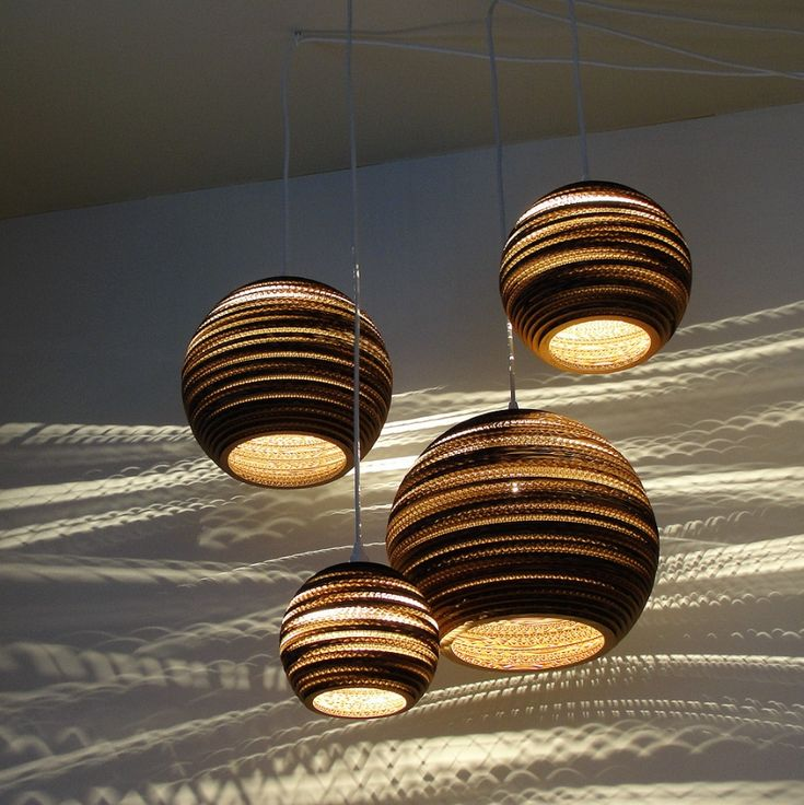 Curious Used Of The Coregartion And Light Jupiter Galilean Moon Set. Scrap  Light Shades Are Made Entirely From Repurposed Cardboard Boxes By Graypants.
