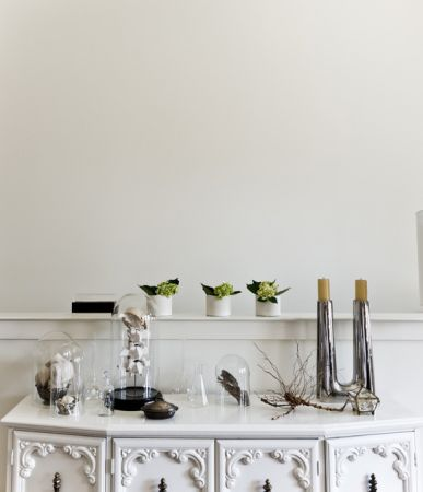 The cloche is the perfect way to showcase special trinkets...or cupcakes...or cheeses...! Inspiration image c/o Jamie Laubhan-Oliver on houzz.com - Complete Pad