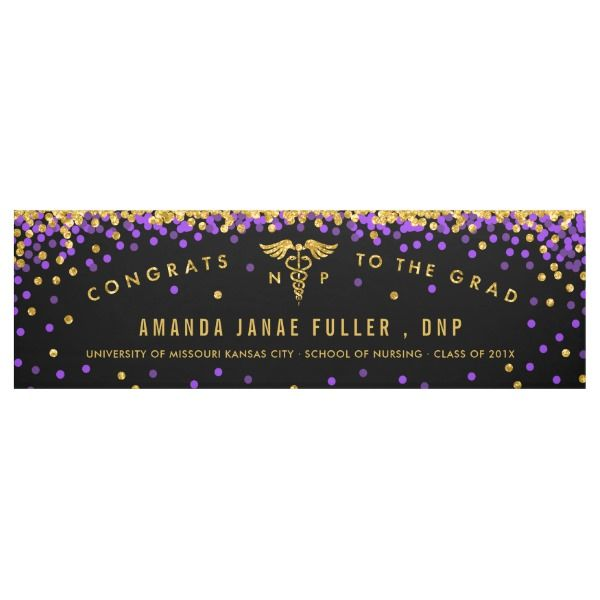 Nurse Practitioner Graduation Banner Purple Gold Zazzle Com 현수막 졸업