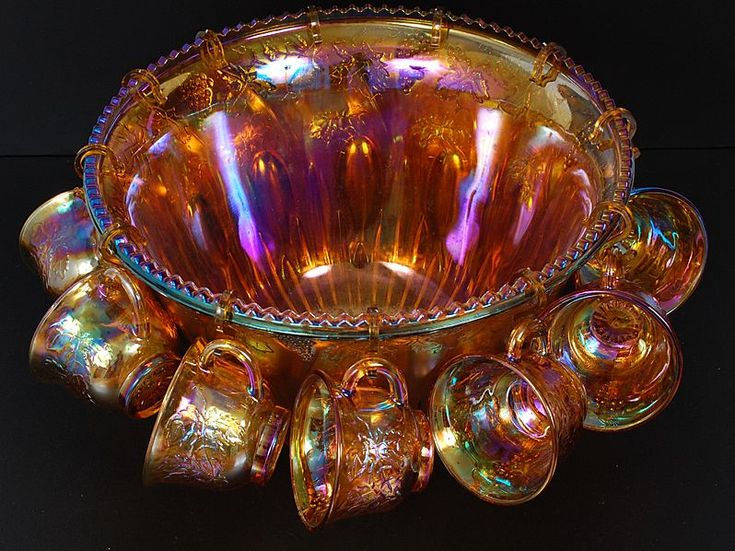 Image detail for -Vintage 26 Piece Carnival Glass Punch Bowl Set with Original Box from ...