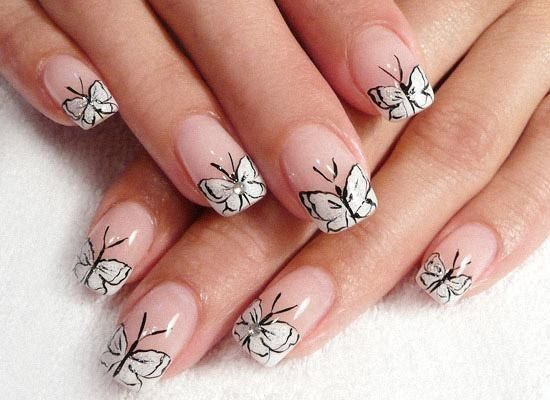 butterfly nails!Nails Art, French Manicures, Shorts Nails, Butterflies Nails, Acrylics Nails Design, Nails Ideas, Nails Polish Design, French Tips, Art Nails